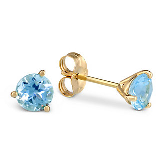 14K Yellow Gold Round Faceted Aquamarine Earrings, 5mm