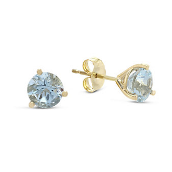 14K Yellow Gold Round Faceted Aquamarine Earrings, 6mm