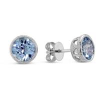 14K_White_Gold_Round_Checkerboard_Aquamarine_Bezel_Set_Earrings