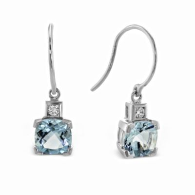 14K White Gold Cushion Aquamarine and Round Diamond Drop Earrings