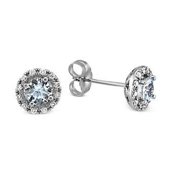 14K White Gold Aquamarine and Round Diamond Earrings