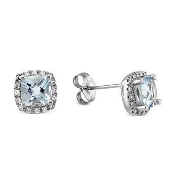 14K White Gold Aquamarine and Round Diamond Frame Earrings