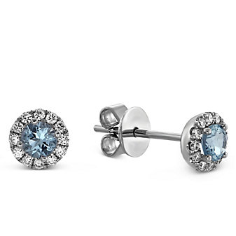 14K White Gold Aquamarine and Round Diamond Halo Earrings