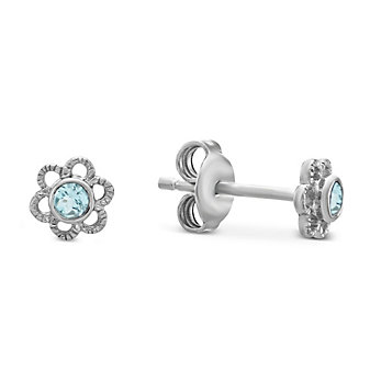 Sterling Silver Child's Aquamarine Flower Earrings