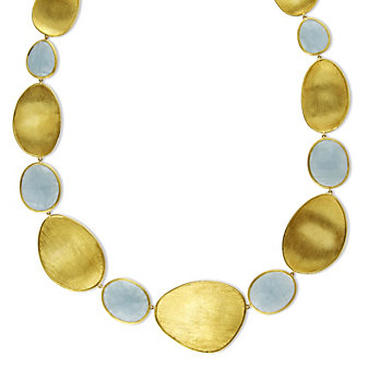 Marco Bicego 18K Yellow Gold Aquamarine Lunaria Necklace