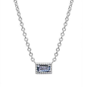 My Story 14K White Gold Baguette Aquamarine Necklace