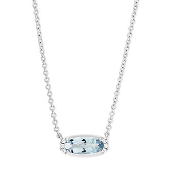 14K White Gold Oval Aquamarine and Round Diamond East West Pendant