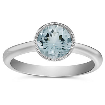 14K Round Checkerboard Aquamarine Bezel Set Ring