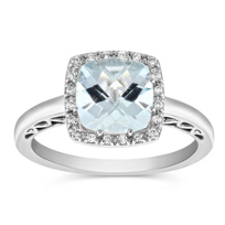 14K_White_Gold_Checkerboard_Cushion_Aquamarine_and_Diamond_Ring
