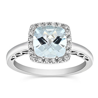 14K White Gold Checkerboard Cushion Aquamarine and Diamond Ring