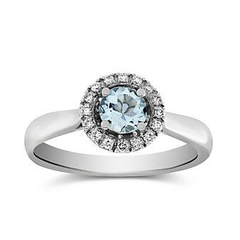 14K White Gold Aquamarine and Diamond Halo Ring
