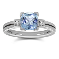 14K_White_Gold_Checkerboard_Cushion_Aquamarine_and_Round_Diamond_Ring