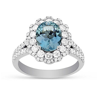 14K White Gold Oval Aquamarine and Round Diamond Halo Ring