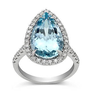 18K White Gold Pear Shape Aquamarine and Round Diamond Halo Ring