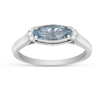 14K White Gold Checkerboard Faceted Oval Aquamarine and Diamond Ring