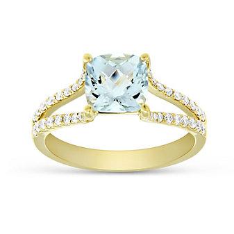 14K Yellow Gold Cushion Aquamarine and Round Diamond Split Shoulder Ring