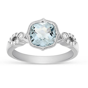 14K White Gold Cushion Aquamarine and Round Diamond Flourish Ring
