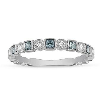 14K White Gold Aquamarine & Diamond Geometric Ring