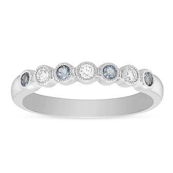 14K White Gold Round Aquamarine & Diamond Bezel Set Milgrain Ring