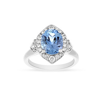 18K White Gold Oval Aquamarine and Diamond Marquise Halo Ring