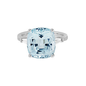 14K White Gold Checkerboard Cushion Aquamarine Ring with Diamond Baguettes