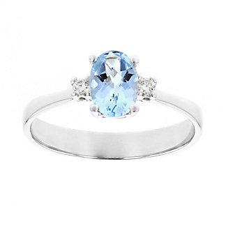 14k white gold oval aquamarine & diamond pallette ring
