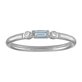 14k white gold baguette aquamarine & round diamond bezel set ring