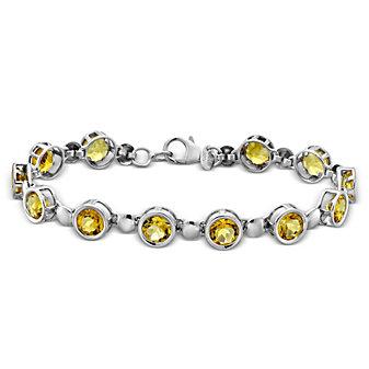 "Sterling Silver Citrine Bracelet, 7"""