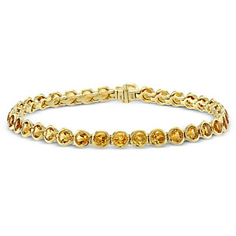 14K Yellow Gold Bezel Set Citrine Bracelet