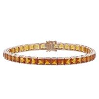"14k_rose_gold_square_citrine_tennis_bracelet,_7"""