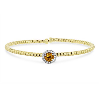 18k yellow and white gold diamond halo and citrine flexible cuff bracelet