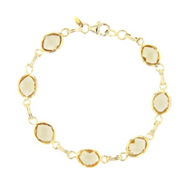 "14k_yellow_gold_oval_checkerboard_citrine_bezel_set_link_bracelet,_7.5"""