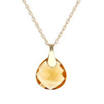 14k_yellow_gold_checkerboard_citrine_briolette_pendant,_18""