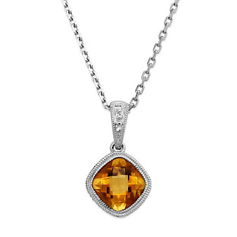 14K White Gold Cushion Checkerboard Citrine Bezel Set Pendant