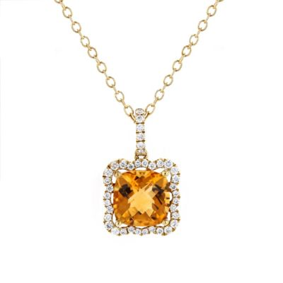 18k yellow gold cushion checkerboard citrine & diamond frame pendant, 16""