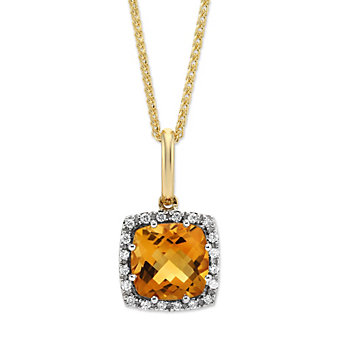 14K Yellow Gold Cushion Citrine and Round Diamond Frame Pendant