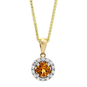 14K Yellow and White Gold Round Citrine and Round Diamond Halo Pendant
