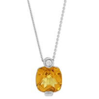 14K_White_Gold_Cushion_Citrine_&_Diamond_Pendant