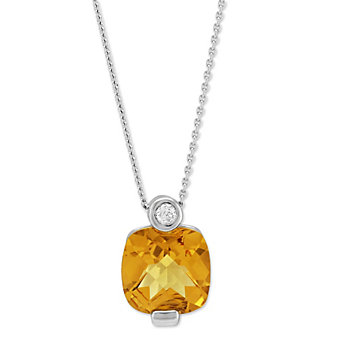 14K White Gold Cushion Citrine & Diamond Pendant