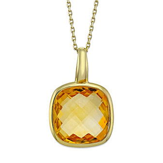 14K Yellow Gold Checkerboard Cushion Citrine Pendant