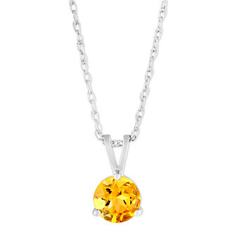 14K White Gold Round Citrine Pendant, 6mm