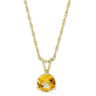 14K Yellow Gold Round Citrine Pendant, 6mm