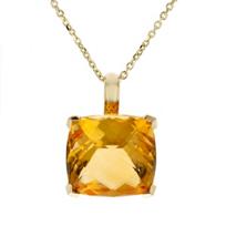 "14k_yellow_gold_checkerboard_cushion_citrine_pendant,_18"""