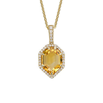 14K Yellow Gold Fancy Stepcut Citrine & Diamond Pendant, 0.24cttw