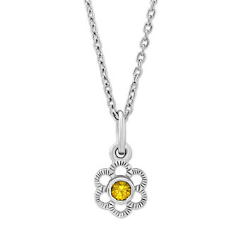 Sterling Silver Children's Citrine Flower Pendant