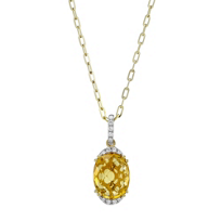 14K_Yellow_Gold_Oval_Checkerboard_Citrine_and_Round_Diamond_Pendant