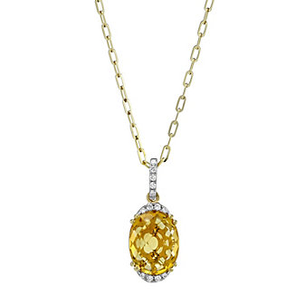 14K Yellow Gold Oval Checkerboard Citrine and Round Diamond Pendant