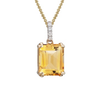 14K_Yellow_Gold_Emerald-Cut_Citrine_&_Diamond_Pendant,_0.03cttw