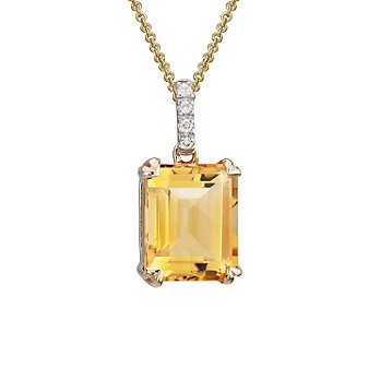 14K Yellow Gold Emerald-Cut Citrine & Diamond Pendant, 0.03cttw