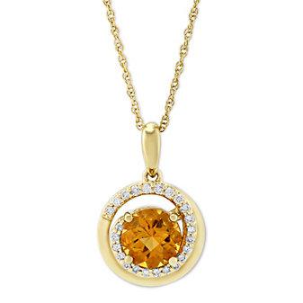 14K Yellow Gold Citrine & Round Diamond Swirl Pendant